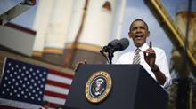 U.S. President Barack Obama delivers remarks on the government funding impasse at M. Luis Construction, a local small business in Rockville, My. (JASON REED/REUTERS)