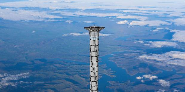 An artist's rendering shows the final part of the 20-kilometre-tall space elevator platform recently patented by Thoth Technology of Pembroke, Ont.