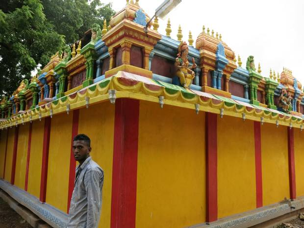The rebuilt exterior of the Amman Kovil (a Hindu temple) in Urelu, the village my mother grew up in.