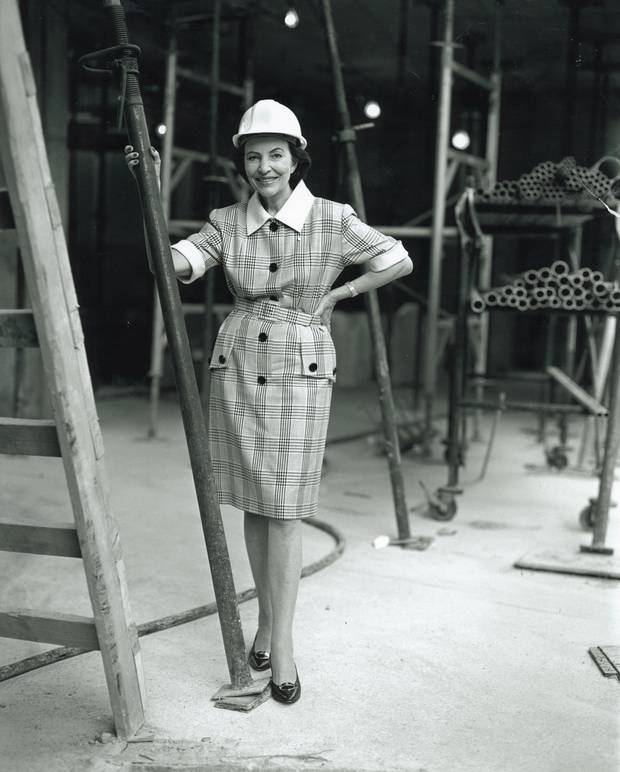 Sonja Bata posed at the Bata Shoe Museum in Toronto as it was being built. Established in 1995, the institution brought many of her passions together under one roof.