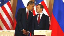 U.S. President Barack Obama and Russian President Dmitry Medvedev hold their press conference after the signing ceremony of the Joint Understanding on Strategic Arms Reduction at the Kremlin on July 6, 2009 in Moscow, Russia. (Epsilon/2009 Getty Images)