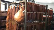 The curing fridge, Smokehaus Meats, in Martensville, SK. (Ian Brown)