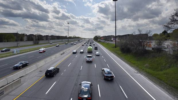 Westbound traffic on the Gardiner Expressway is pictured on May 16 2016. Documents leaked to The Globe and Mail say Ontario will spend $7-billion phasing out natural gas for heating, provide incentives to retrofit buildings and give rebates to drivers who buy electric vehicles.