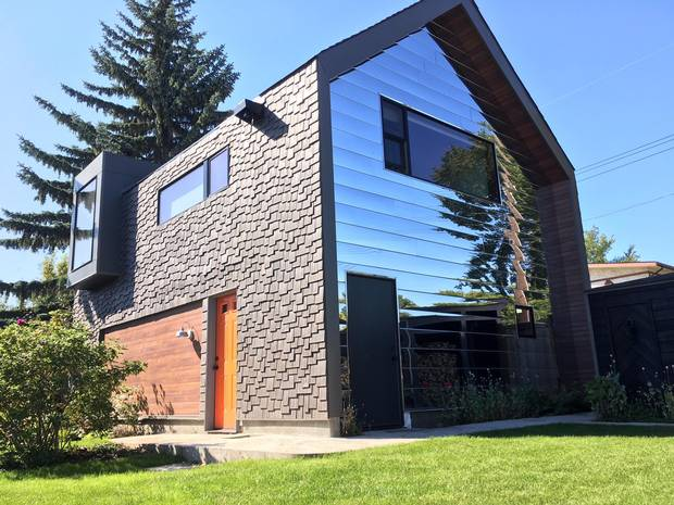 The skinny home designed by Antonio Gomez-Decuir and partner Jesse Watson is seen in the northwest Edmonton community of Calder.