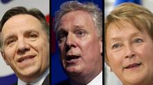 Francois Legault (L), Jean Charest and Pauline Marois (Jacques Boissinot, Paul Chiasson, Graham Hughes/Canadian Press)