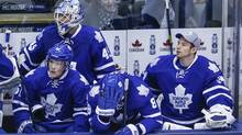 Toronto Maple Leafs (L-R) Jake Gardiner, Jonathan Bernier, Tim Gleason, and James Reimer react against the St. Louis Blues during the last minute of the third period of their NHL hockey game in Toronto, Tuesday March 25, 2014 (Mark Blinch For The Globe and Mail)