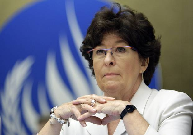 Louise Arbour is shown at the United Nations headquarters in Geneva on June 2, 2008.