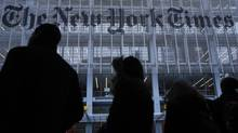 New York Times Co. reported on Thursday that its circulation revenue surpassed ad revenue for the year. (CARLO ALLEGRI/REUTERS)
