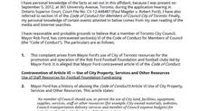 Screen shot of the affidavit filed to the Integrity Commissioner over Rob Ford's use of city resources.