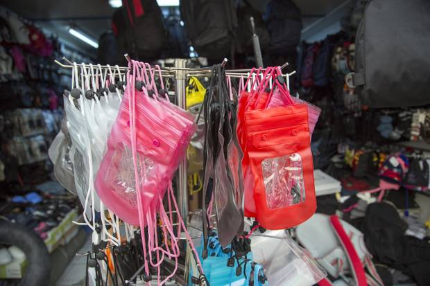 Waterproof passport holders are for sale at an Izmir shop.