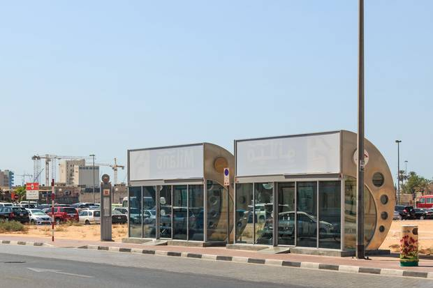 An air-conditioned bus stop in Dubai.