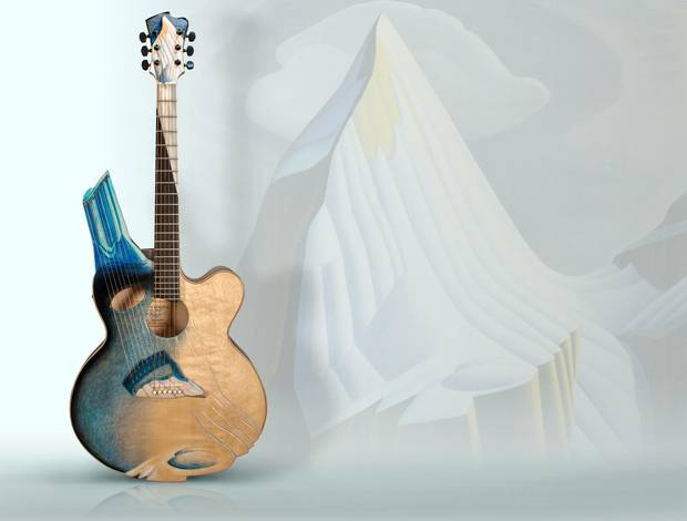 Linda Manzer added a side port to her guitar, inspired by Lawren Harris, which acts like a little speaker.