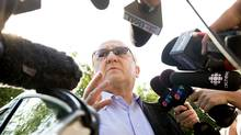 Karlheinz Schreiber speaks to the media before entering the Toronto West Detention Centre on August 2, 2009. (Jennifer Roberts for The Globe and Mail/Jennifer Roberts for The Globe and Mail)