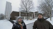 Parents Sherry Giles and Rob McCready outside Davisville Junior Public School. (Fred Lum/The Globe and Mail)
