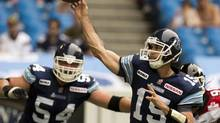 Toronto Argonauts quarterback Ricky Ray is the CFL's passing leader, with 705 yards, through two games. (Frank Gunn/THE CANADIAN PRESS)