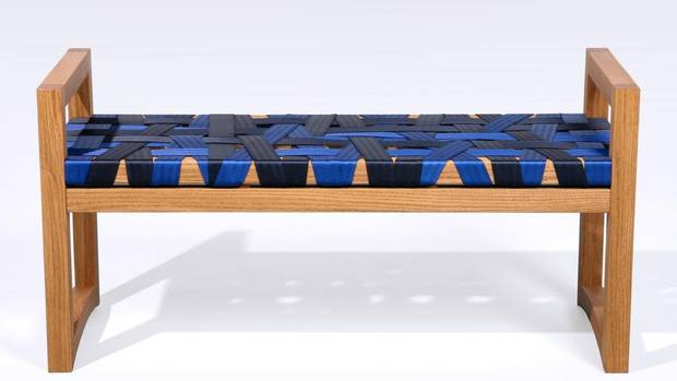 Seven years ago, Christopher Solar gave up a career as a software developer and began teaching himself the art of furniture making. After he mastered the classics, the Ottawa-based designer got creative. His Strap Bench is strung with a colourful, almost chaotic top made from seat-belt webbing (the brightly hued kind used in custom hot rods, not your typical sedans). It's Solar's wink at traditional weaving techniques, done with an updated, post-industrial sense of ingenuity. And although the taut, crisscrossing pattern looks random, it's anything but – each strap is carefully placed to ensure the right level of give and support as you sit. From $1,600 through christophersolar.com.