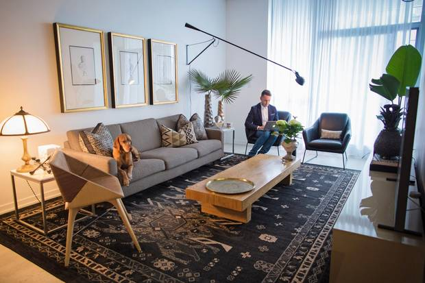 Interior Designer Shai DeLuca is seen here is his east end Toronto condo Monday March 12, 2017.