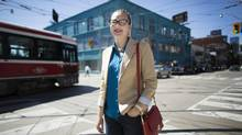 Toronto mayoral candidate 19-year old Morgan Baskin near her Parliament and Queen Street neighborhood in Toronto on Aug. 27, 2014. (Peter Power for The Globe and Mail)