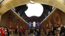 The Apple Inc. logo hangs inside the Apple Store in New York City's Grand Central Station. (MIKE SEGAR/REUTERS)