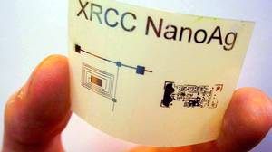 Xerox researchers have created printable organic electronics, light, flexible backplanes on which electronic circuitry can be literally printed. The ereader of the future may be created with similar technology. This prototype illustrates the use of printable electronics as a radio frequency ID antenna.