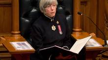 British Columbia Lieutenant-Governor Judith Guichon delivers the Throne Speech at the B.C. Legislature in Victoria Feb. 12, 2013. (Darryl Dyck/The Canadian Press)