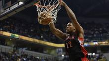 Toronto Raptors forward Rudy Gay dunks the ball against the Indiana Pacers during the first quarter of their NBA basketball game in Indianapolis, Indiana February 8, 2013. REUTERS/Brent Smith (UNITED STATES - Tags: SPORT BASKETBALL) (BRENT SMITH/REUTERS)
