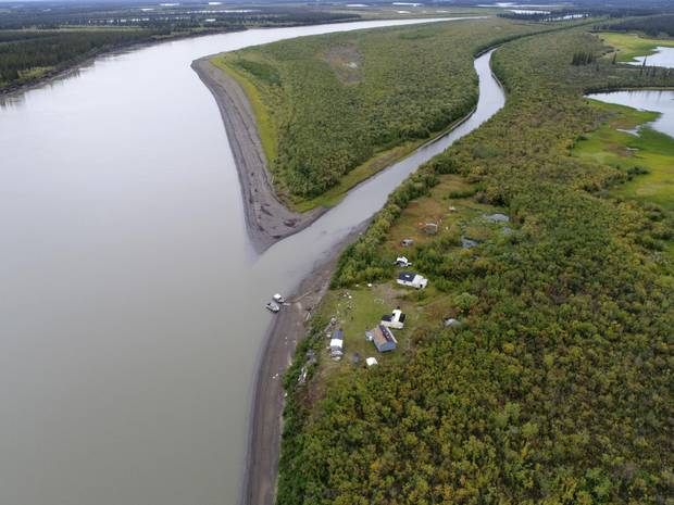 A river camp on the lower Mackenzie River.