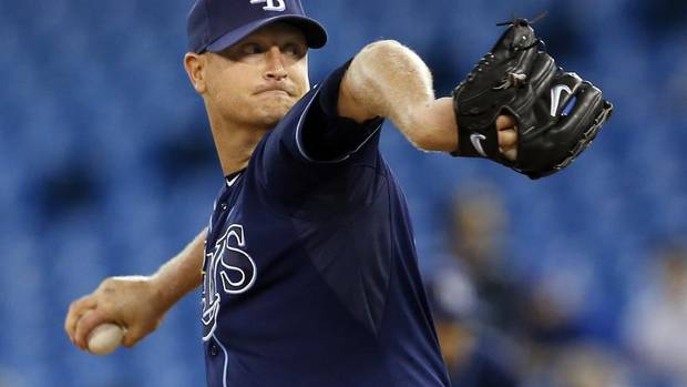 Tampa Bay Rays Alex Cobb pitches to the Toronto Blue Jays during the first inning of their MLB American League baseball game in Toronto, May 21, 2013. (MARK BLINCH/REUTERS)