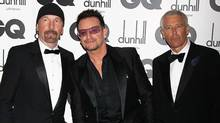 (L-R) The Edge, Bono and Adam Clayton of U2 attend the GQ Men Of The Year Awards at The Royal Opera House on Sept. 6, 2011 in London, England. (Chris Jackson/Getty Images)