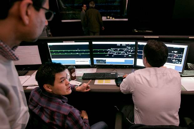 From TTC's transit-control centre, operators test the new signalling system in operation.