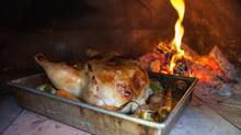The dry heat from the wood oven in Chris Nuttall-Smith's backyard cooked this chicken's skin golden-crisp. (Chris Nuttall-Smith/The Globe and Mail)