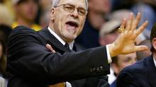 Los Angeles Lakers coach Phil Jackson shouts instructions from the bench against the Detroit Pistons during Game 1 of the NBA Finals in Los Angeles, June 6, 2004. (Lucy Nicholson/Reuters)