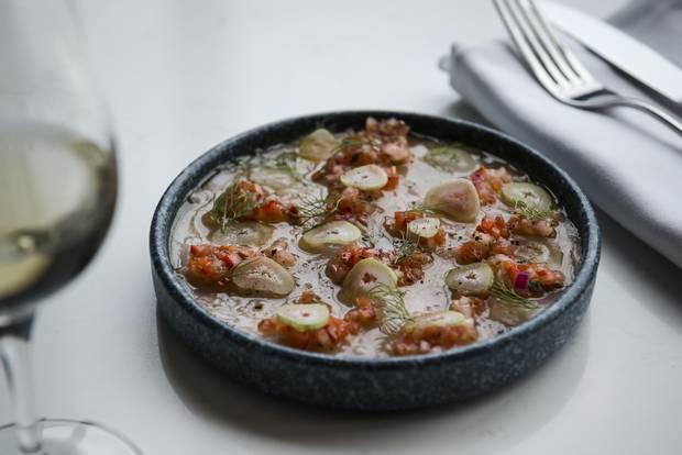 Albacore tuna crudo with fennel and salsa criolla.