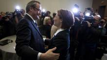 Christy Clark is greeted by MLA John Les at her first Liberal Caucus meeting as premier-designate on March 2, 2011. (JOHN LEHMANN/THE GLOBE AND MAIL)