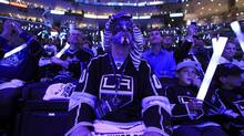 Los Angeles Kings fan B.J. Brewer watches a light show before the Kings play the New Jersey Devils in Game 3. (LUCY NICHOLSON/REUTERS)