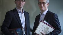 Chris Labonte (L) and Richard Nadeau from the publishing firm Figure 1 April 24, 2014 in Vancouver. (John Lehmann/The Globe and Mail)