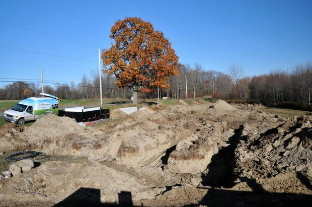 Trenching and geothermal installation at the Prince Edward County home of Shannon Kyles.