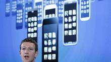 Mark Zuckerberg, Facebook's co-founder and CEO, introduces the Home app at a press conference in Menlo Park, Calif., last Thursday. (ROBERT GALBRAITH/REUTERS)