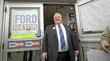 Rob Ford prepares to address the media outside his Etobicoke campaign office on Oct. 24, 2010. (Jennifer Roberts for The Globe and Mail/Jennifer Roberts for The Globe and Mail)