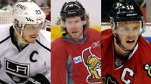 Dustin Brown of the Los Angeles Kings, Daniel Alfredsson of the Ottawa Senators and Jonathan Toews of the Chicago Blackhawks
