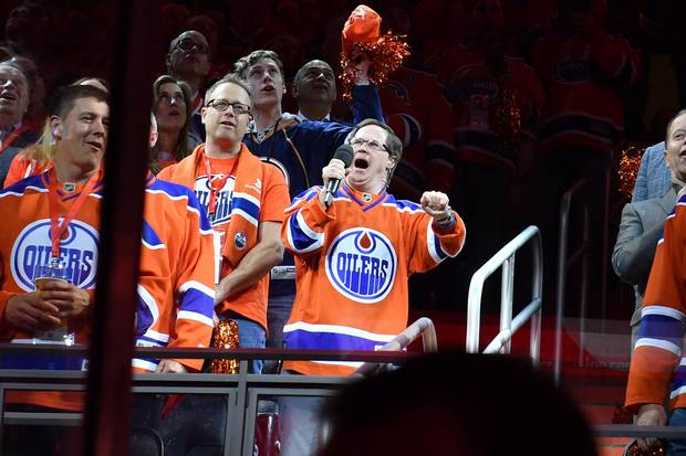 Joey Moss of the Edmonton Oilers sings the national anthem prior to Game Five of the Western Conference First Round during the 2017 NHL Stanley Cup Playoffs against the San Jose Sharks on April 20, 2017 at Rogers Place in Edmonton, Alberta, Canada.