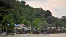 Colourful shanties on stilts back onto the forest in this Malaysian fishing village. (Jill MacInnes/Jill MacInnes)