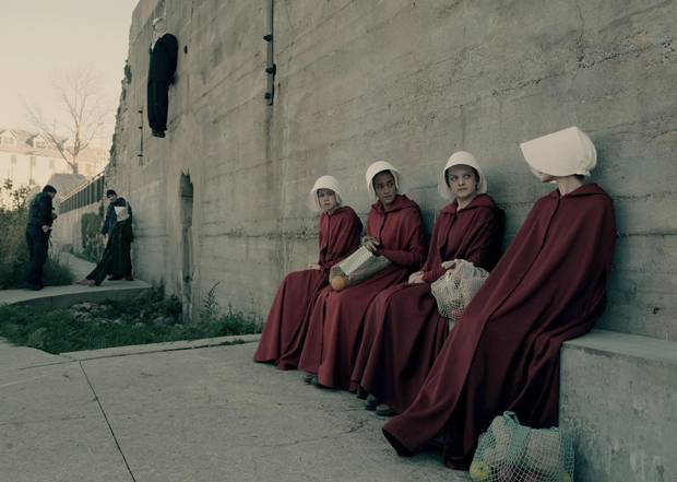 It would be an mild upset if The Handmaid's Tale wins an Emmy in the best drama series category, but the show's star Elisabeth Moss, second from right, is the clear favourite in the best actress category.