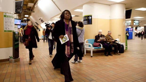 Mitzie Hunter, CEO of lobby group Greater Toronto CivicAction Alliance, arrives at Union Station as she takes part in The Big Race, a project by Centennial College's Centre for Creative Communication students, examining the efficiencies and inefficiencies of Toronto's transit system, on Thursday, March 28, 2013. (Matthew Sherwood for The Globe and Mail)