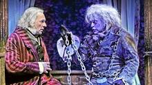 "Stephen Hair as Scrooge and Robert Graham Klein as Jacob Marley in ""A Christmas Carol"" at Theatre Calgary (Trudie Lee)"