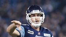Toronto Argonauts quarterback Ricky Ray throws the ball against the Edmonton Eskimos during second half CFL Eastern Conference semi-final football action in Toronto on Sunday, Nov. 11, 2012. The Argonauts defeated the Eskimos. (NATHAN DENETTE/THE CANADIAN PRESS)