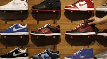 Nike shoes are displayed at a Niketown store in Beverly Hills, California. (LUCY NICHOLSON/REUTERS)