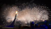 Fireworks light up the sky above the Sochi Olympic Park after the light of the Olympic Cauldron February 7, 2014 after the opening ceremony. (John Lehmann/The Globe and Mail)