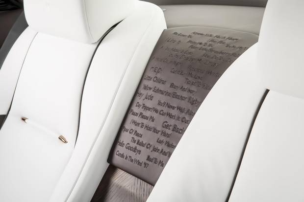 An embroidered panel in the George Martin-inspired Rolls-Royce Wraith.