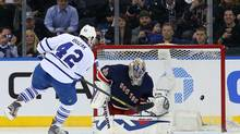 Toronto Maple Leafs centre Tyler Bozak scores a penalty shot goal against New York Rangers goalie Henrik Lundqvist during the second period at Madison Square Garden in New York on March 5. (Adam Hunger/USA Today Sports)